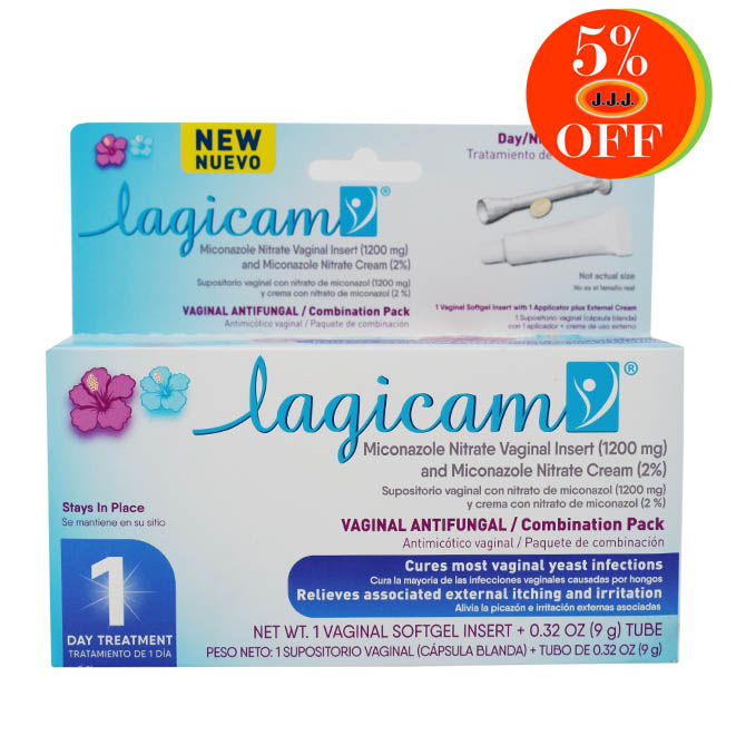 LAGICAM 1 DAY VAGINAL ANTIFUNGAL AND EXTERNAL ANALGESIC			 Vaginal softgel insert + 0.32 oz tube